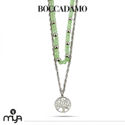 Necklace with green crystals and tree of life
