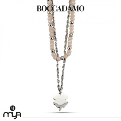 Necklace with peach-colored crystals and four-leaf clover
