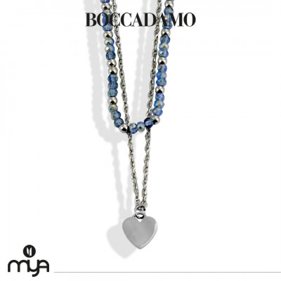 Necklace with blue crystals and crescent moon