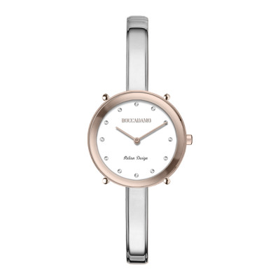 Silver and pink ladies time only watch with Swarovski indexes