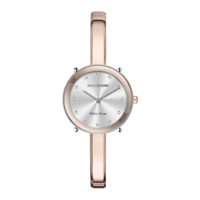 Pink and silver ladies time only watch with Swarovski indexes