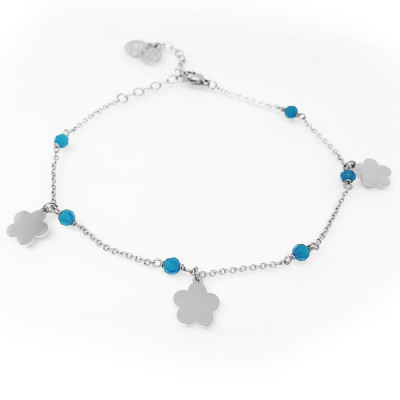 Ankle brace with Swarovski carribean blue opal and charms in the form of a flower