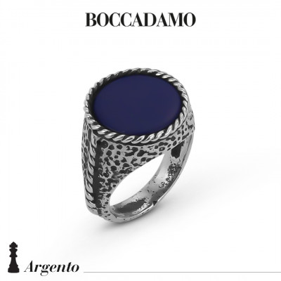 Rope signet ring with blue agate