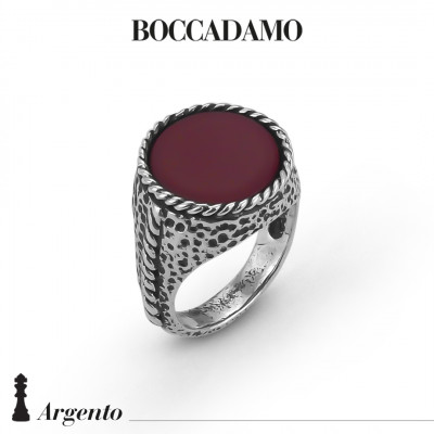 Rope signet ring with red agate