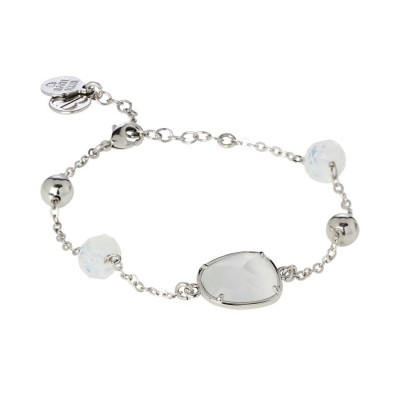 Bracelet with Swarovski crystals white opal and white central