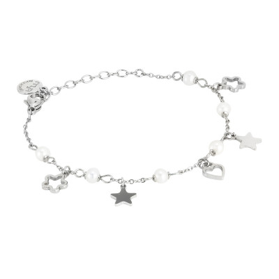 Bracelet with charms and natural pearls