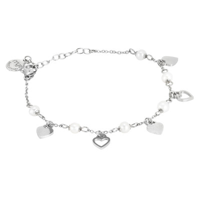 Bracelet with hearts and natural pearls