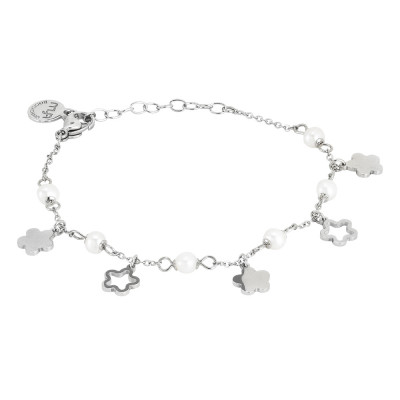 Bracelets with flowers and natural pearls