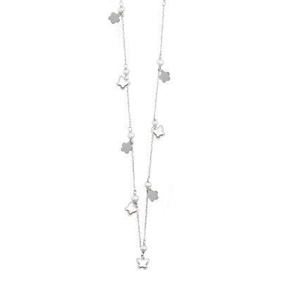 Long necklace with pearls and butterflies and flowers