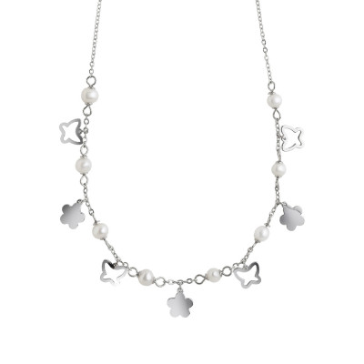 Necklace with butterflies, flowers and natural pearls