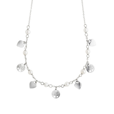 Necklace with hearts, tree of life and natural pearls