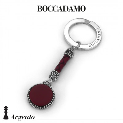 Keychain with blue agate and red leather