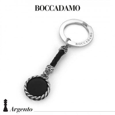 Rope keychain with black agate