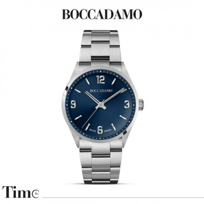 Men's time only watch with blue dial