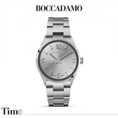 Men's time only watch with silver dial