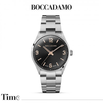 Men's time only watch with black dial