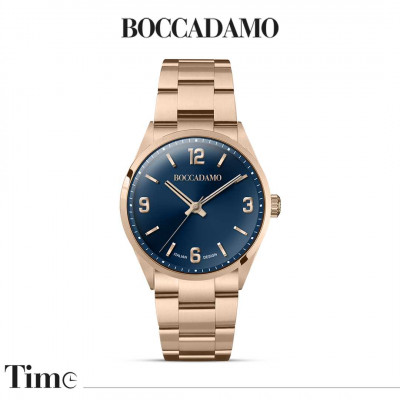 Rose gold plated time only watch with blue dial