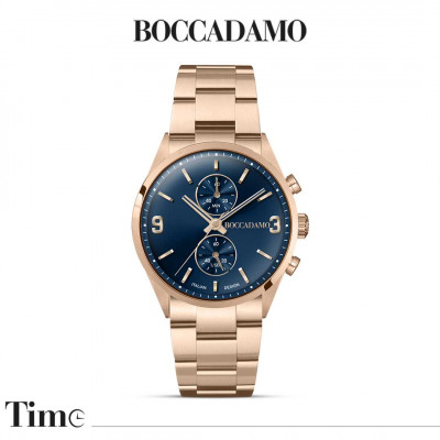 Rose gold-colored chronograph watch with blue dial
