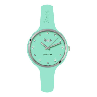Watch lady in anallergic silicone color milk and mint, silver ring and indexes in Swarovski