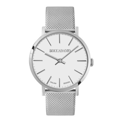 Watch lady with white dial and mesh strap mesh silver