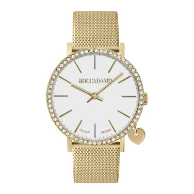 Watch lady with Swarovski crystals, side charm and cinturuno mesh golden mesh
