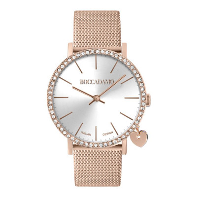 Watch lady with Swarovski crystals, side charm and cinturuno knitted mesh rosato