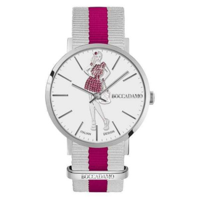 Ladies watch with white dial and little doll Mya in Swarovski pink and fuchsia