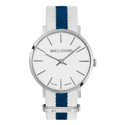 Clock with white dial and strap in nylon bicolor