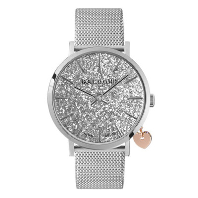 Women's watch with glitter silver dial, Milan knit strap and side pink charm
