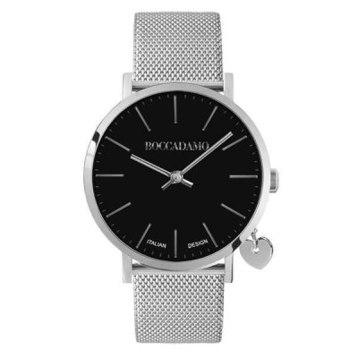 Watch lady with black dial, steel strap and charm side silver