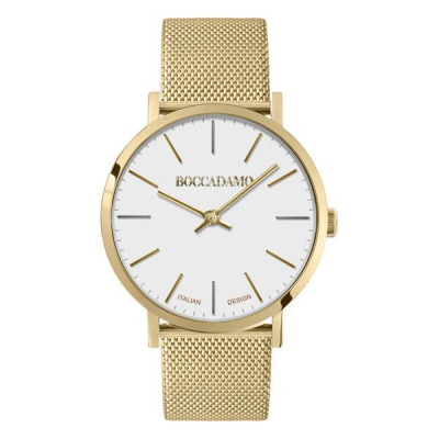 Clock with white dial and mesh strap Milan in golden steel