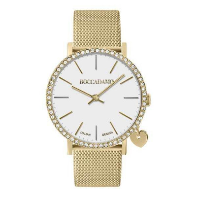 Watch lady in golden steel with white dial, box in Swarovski and lateral charm