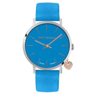 Women's watch with blue leather strap and side charm