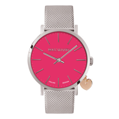 Clock with fuchsia dial