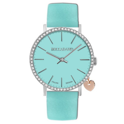 Women's watch with leather strap and mint and lateral charm