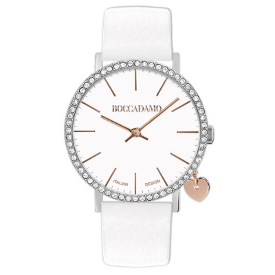 Women's watch with white leather strap, Swarovski case and side charm
