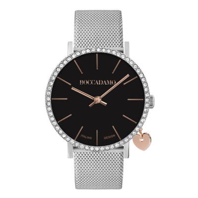 Watch with black dial and Swarovski