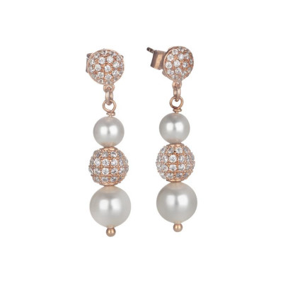 Earrings Pendant rosati with pearl Swarovski and zircons