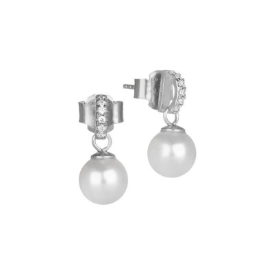 Earrings in the lobe with pearl pendant and zircons