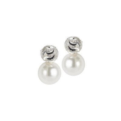 Earrings in the lobe with Swarovski Pearl and diamond throttle