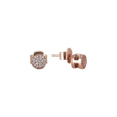 Earrings plated lobe pink gold with zircons