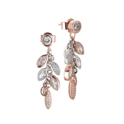 Cluster earrings bicolor with zircons