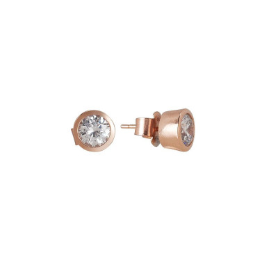 Orecchinini lobe with zircon diamond cut gold plated pink