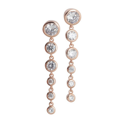 Earrings Gold plated pink with zircons degradèpendenti