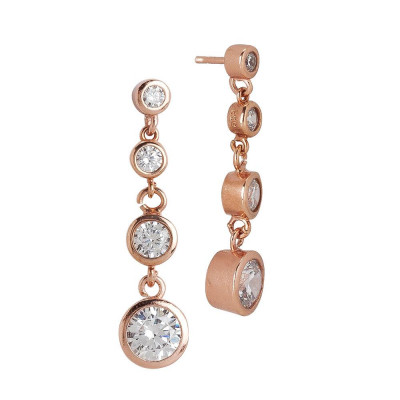 Earrings Gold plated pink with pendent zircons degradè
