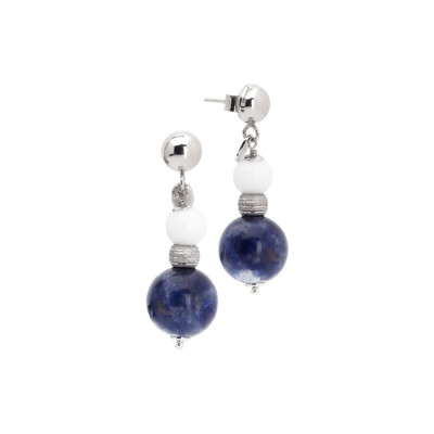 Earrings with white agate and sodalite