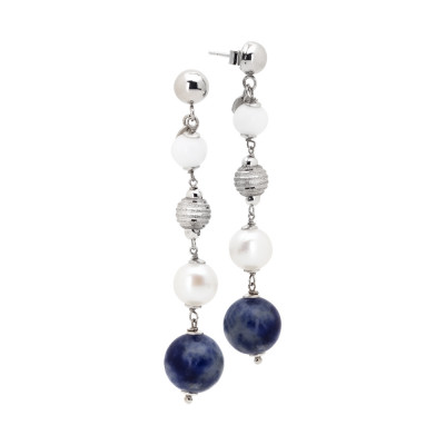 Drop earrings with natural pearls, white agate and sodalite