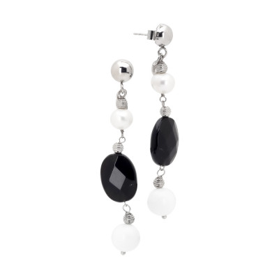 Earrings with natural pearl, obsidian and white agate