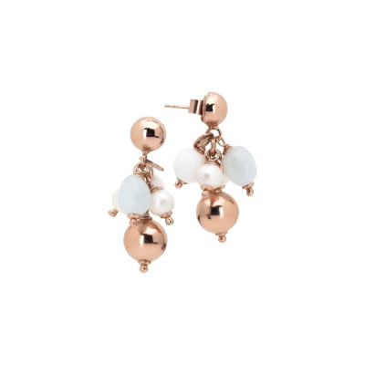 Tufted earrings with natural pearls, white agate and aquamarine