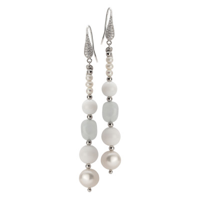 Drop earrings with natural pearls, aquamarine and white agate
